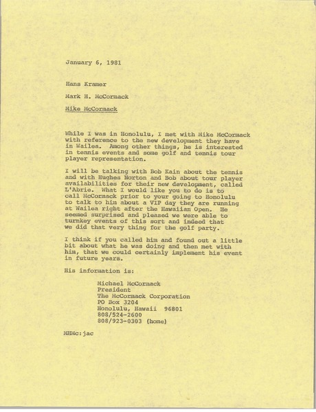 Memorandum from Mark H. McCormack to Hans Kramer, January 6, 1981