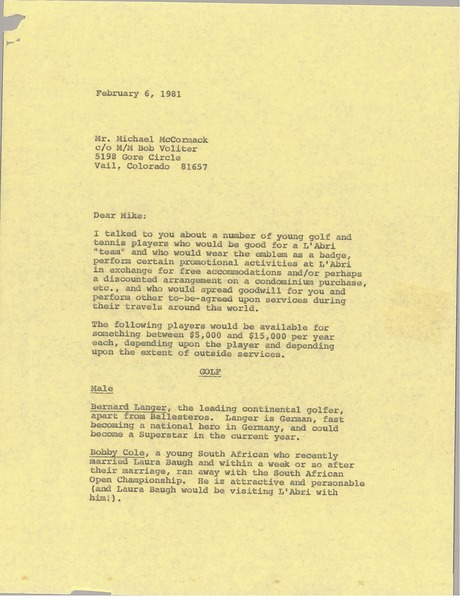 Letter from Mark H. McCormack to Michael McCormack, February 6, 1981