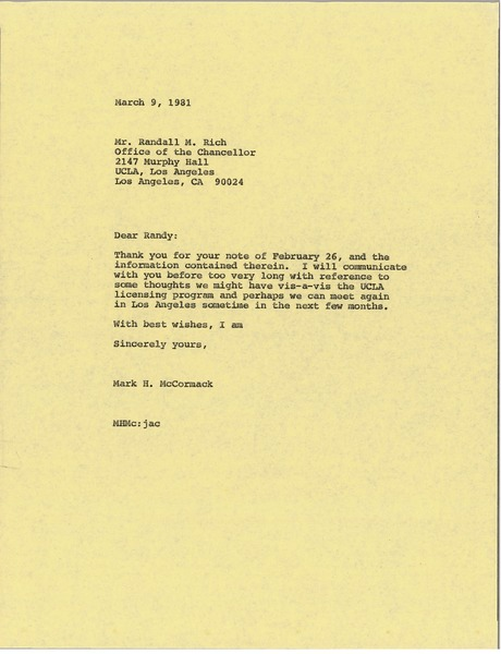 Letter from Mark H. McCormack to Randall M. Rich, March 9, 1981