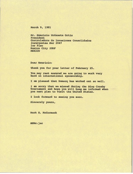 Letter from Mark H. McCormack to Mauricio Urdaneta Ortiz, March 9, 1981