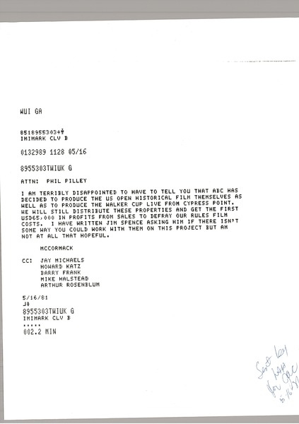 Telex prinotuts from Mark H. McCormack to Phil Pilley, May 16, 1981