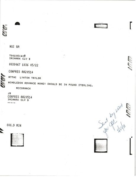 Telex prinotuts from Mark H. McCormack to Lynotn Taylor, May 22, 1981
