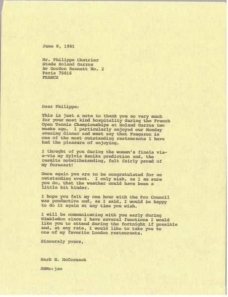 Letter from Mark H. McCormack to Philippe Chatrier, June 8, 1981
