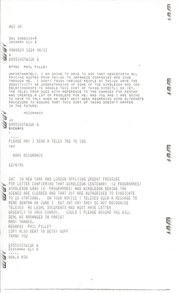 Telex prinotut from Mark H. McCormack to Phil Pilley, June 12, 1981