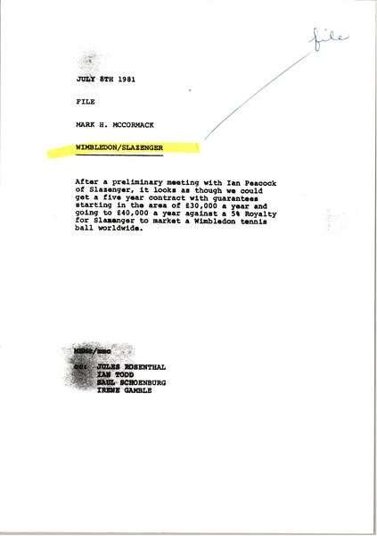 Memorandum from Mark H. McCormack to Wimbledon Slazenger file, July 8, 1981