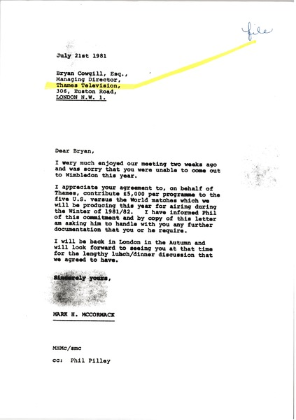 Letter from Mark H. McCormack to Bryan Cowgill, July 21, 1981
