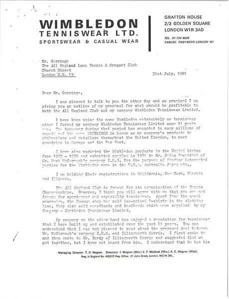 Letter from T. O. Wegner to the All England Lawn Tennis and Croquet Club, July 31, 1981