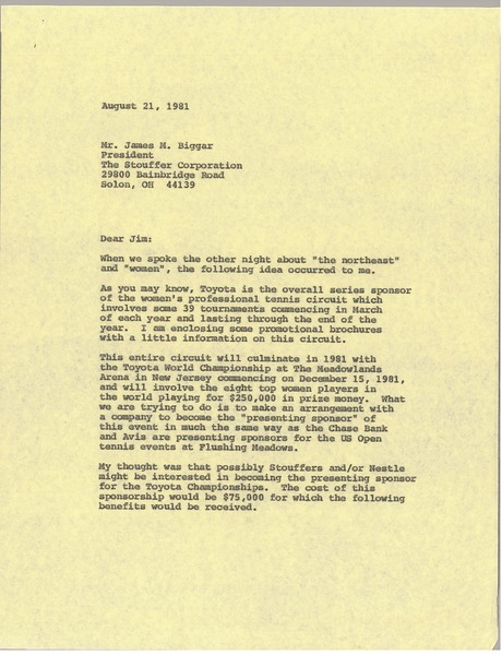 Letter from Mark H. McCormack to James M. Biggar, August 21, 1981