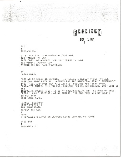 Telex prinotuts from Jerry Perenchio to Mark H. McCormack, September 1, 1981