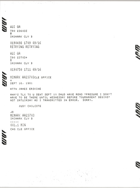 Telex prinotuts from Judy A. Chilcote to James Erskine, September 16, 1981