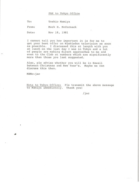 Fax from Mark H. McCormack to Toshio Mamiya, November 18, 1981