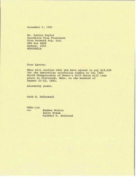 Letter from Mark H. McCormack to Lynotn Taylor, December 2, 1981