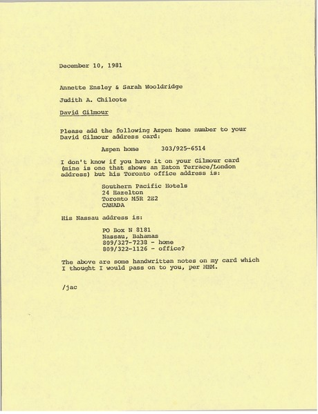 Memorandum from Judith A. Chilcote to Sarah Wooldridge and Annette Ensley, December 10, 1981