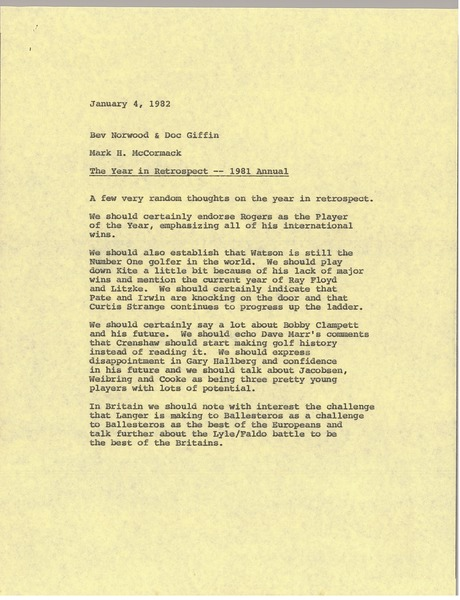 Memorandum from Mark H. McCormack to Bev Norwood and Doc Giffin, January 4, 1982