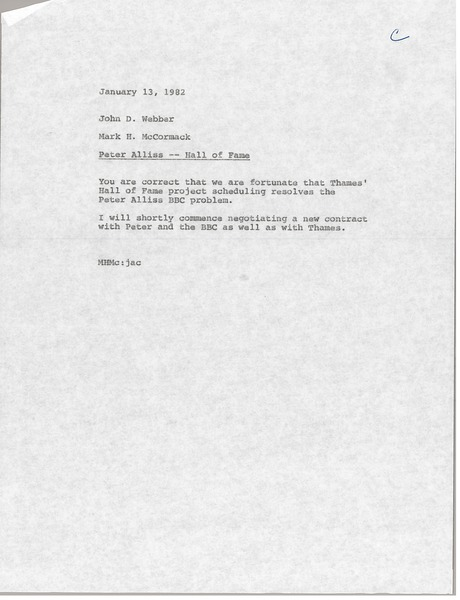 Memorandum from Mark H. McCormack to John D. Webber, January 13, 1982