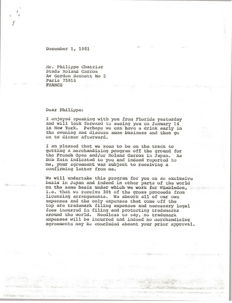 Letter from Mark H. McCormack to Philippe Chatrier, December 1, 1981
