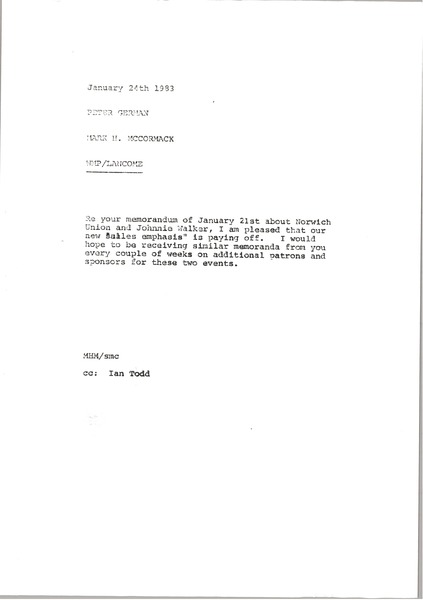 Memorandum from Mark H. McCormack to Peter German, January 24, 1982