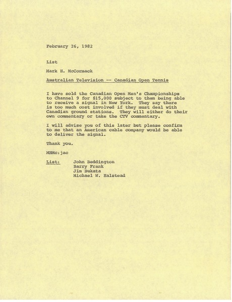 Memorandum from Mark H. McCormack concerning Australian television, February 26, 1982