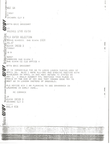 Telex prinotut from Mark H. McCormack to Eric Drossart, March 30, 1982