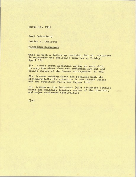 Memorandum from Judith A. Chilcote to Saul Schoenberg, April 12, 1982