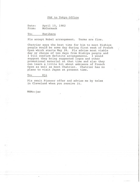 Fax from Mark H. McCormack to Tokyo office, April 15, 1982
