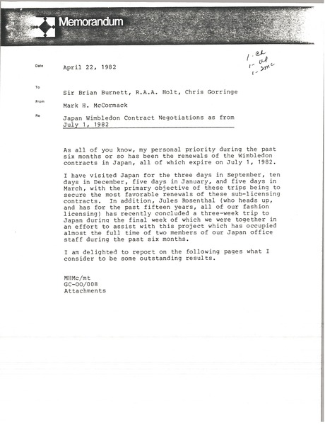 Memorandum from Mark H. McCormack to Brian Burnett, R. A. A. Holt, Chris             Gorringe, April 22, 1982
