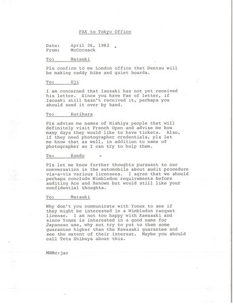 Fax from Mark H. McCormack to Tokyo office, April 26, 1982