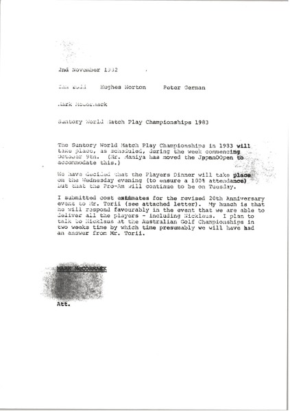 Memorandum from Mark H. McCormack to Ian Todd, November 2, 1982