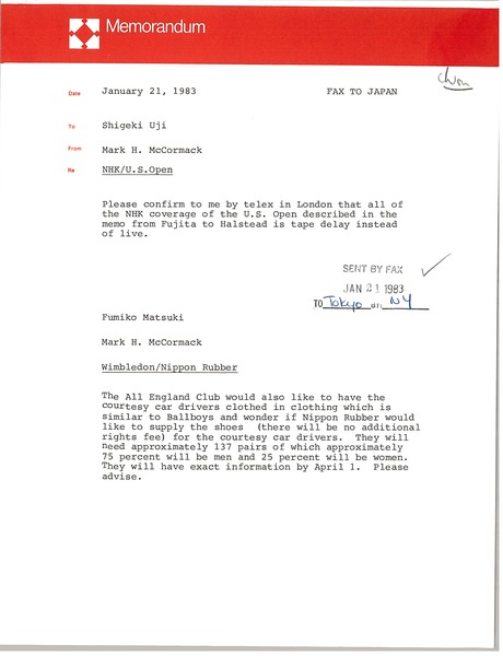 Memorandum from Mark H. McCormack to Shigeki Uji, January 21, 1983
