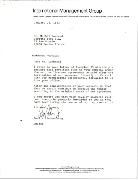 Letter from Saul Schoenberg to Michel Lombard, January 24, 1983