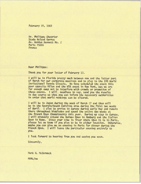 Letter from Mark H. McCormack to Philippe Chatrier, February 28, 1983