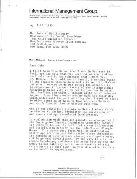 Letter from Mark H. McCormack to John F. McGillicuddy, April 25, 1983