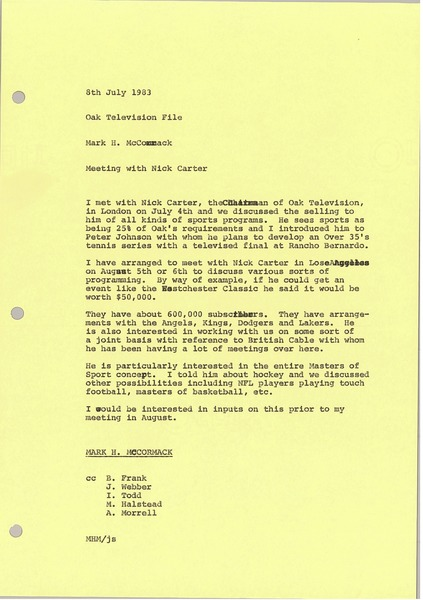 Memorandum from Mark H. McCormack to Oak Television file, July 8, 1983