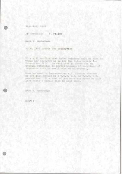 Memorandum from Mark H. McCormack to A. Rosenblum and P. Pilley, July 20, 1983