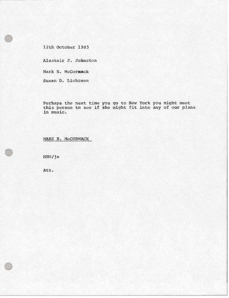 Memorandum from Mark H. McCormack to Alastair J. Johnston, October 12, 1983