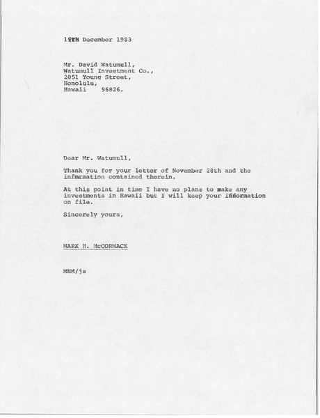 Letter from Mark H. McCormack to David Watumull, December 19, 1983