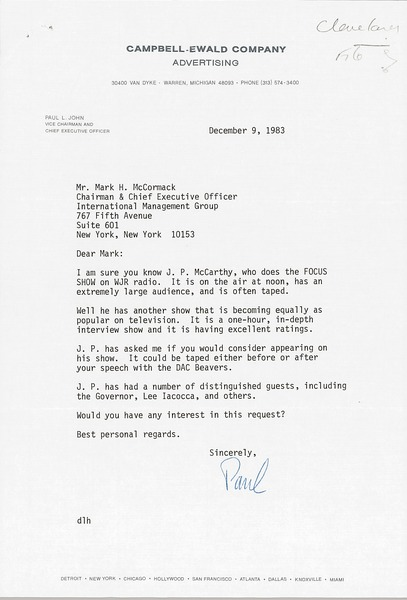 Letter from Paul L. John to Mark H. McCormack, December 9, 1983