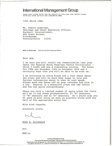 Letter from Mark H. McCormack to Robert Anderson, March 12, 1984