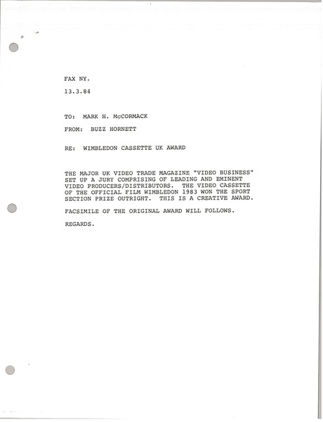 Telex printout from Buzz Hornett to Mark H. McCormack, March 13, 1984