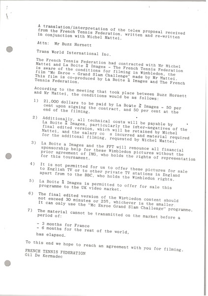 Memorandum from Gil De Kermadec to Buzz Hornett, June 20, 1984