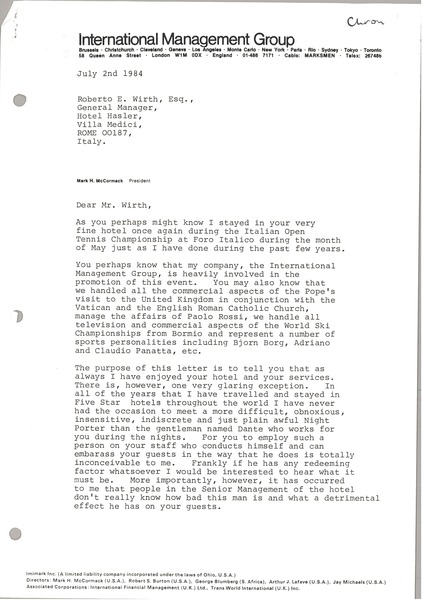 Letter from Mark H. McCormack to Robert E. Wirth, July 2, 1984