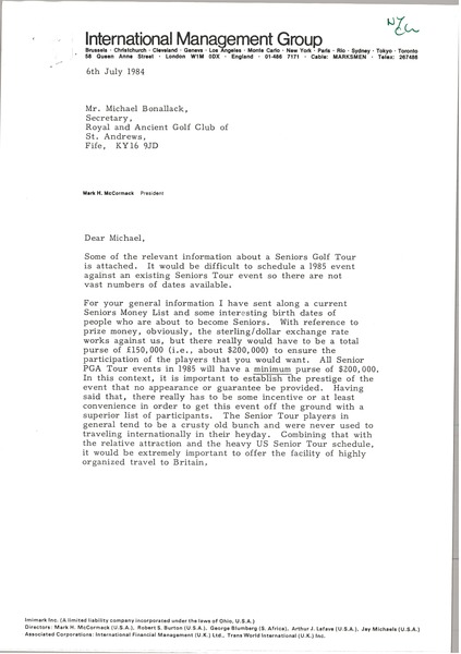 Letter from Mark H. McCormack to M. F. Bonallack, July 6, 1984