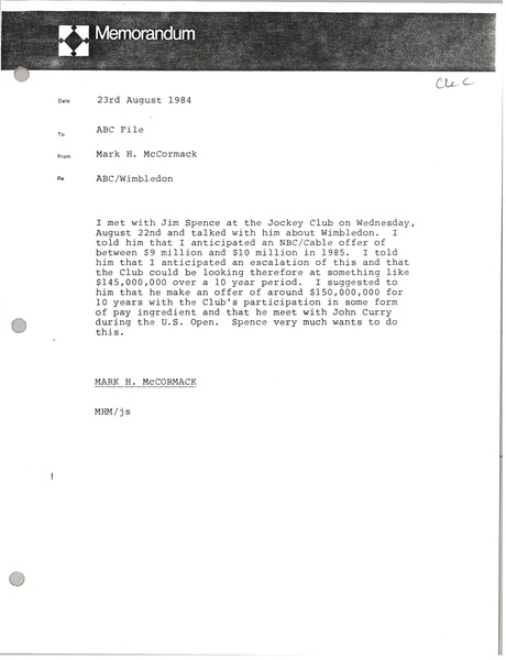 Memorandum from Mark H. McCormack to American Broadcasting Company file, August 23, 1984