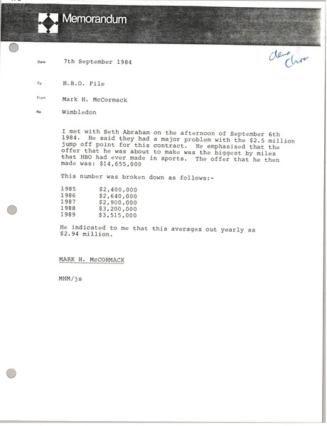 Memorandum from Mark H. McCormack to Home Box Office file, September 7, 1984