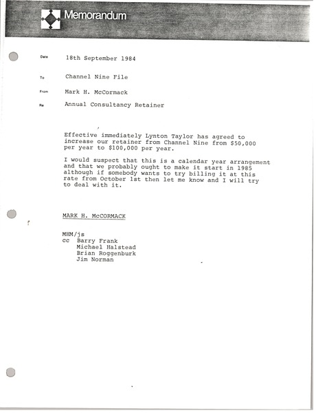 Memorandum from Mark H. McCormack to Channel Nine file, September 18, 1984