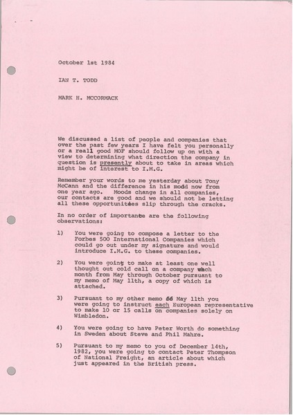 Memorandum from Mark H. McCormack to Ian T. Todd, October 1, 1984