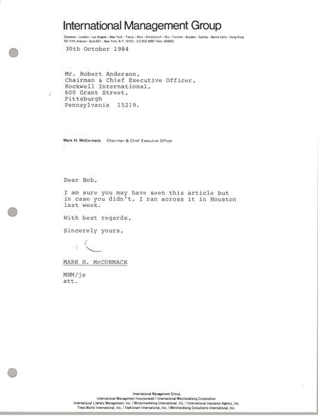 Letter from Mark H. McCormack to Robert Anderson, October 30, 1984