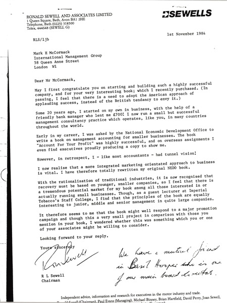 Letter from Ronald L. Sewell to Mark H. McCormack, November 13, 1984