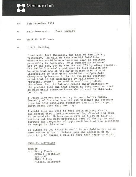 Memorandum from Mark H. McCormack to Eric Drossart and Buzz Hornett, December 5, 1984