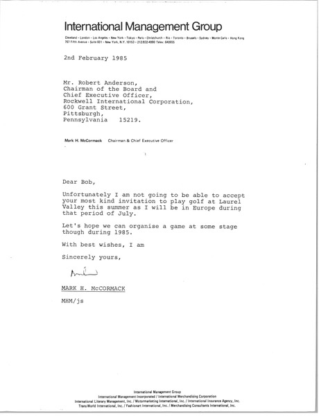 Letter from Mark H. McCormack to Robert Anderson, February 2, 1985